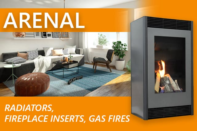 Radiators, fireplace inserts, gas fires